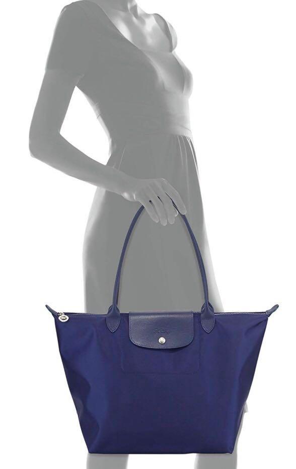 ddf072fbc1 Longchamp Le Pliage Neo Navy Blue Tote Handbag, Women's Fashion ...