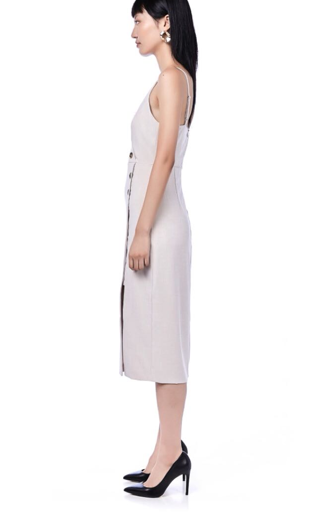 919024cfc323 Miraya button-down midi dress in sand size M, Women's Fashion, Clothes,  Dresses & Skirts on Carousell