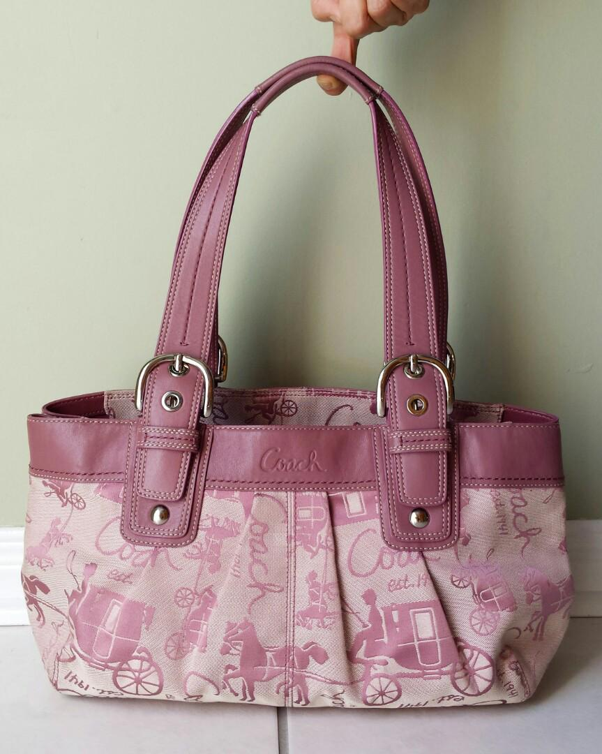 Monogrammed Coach Bag in Beige and Mauve