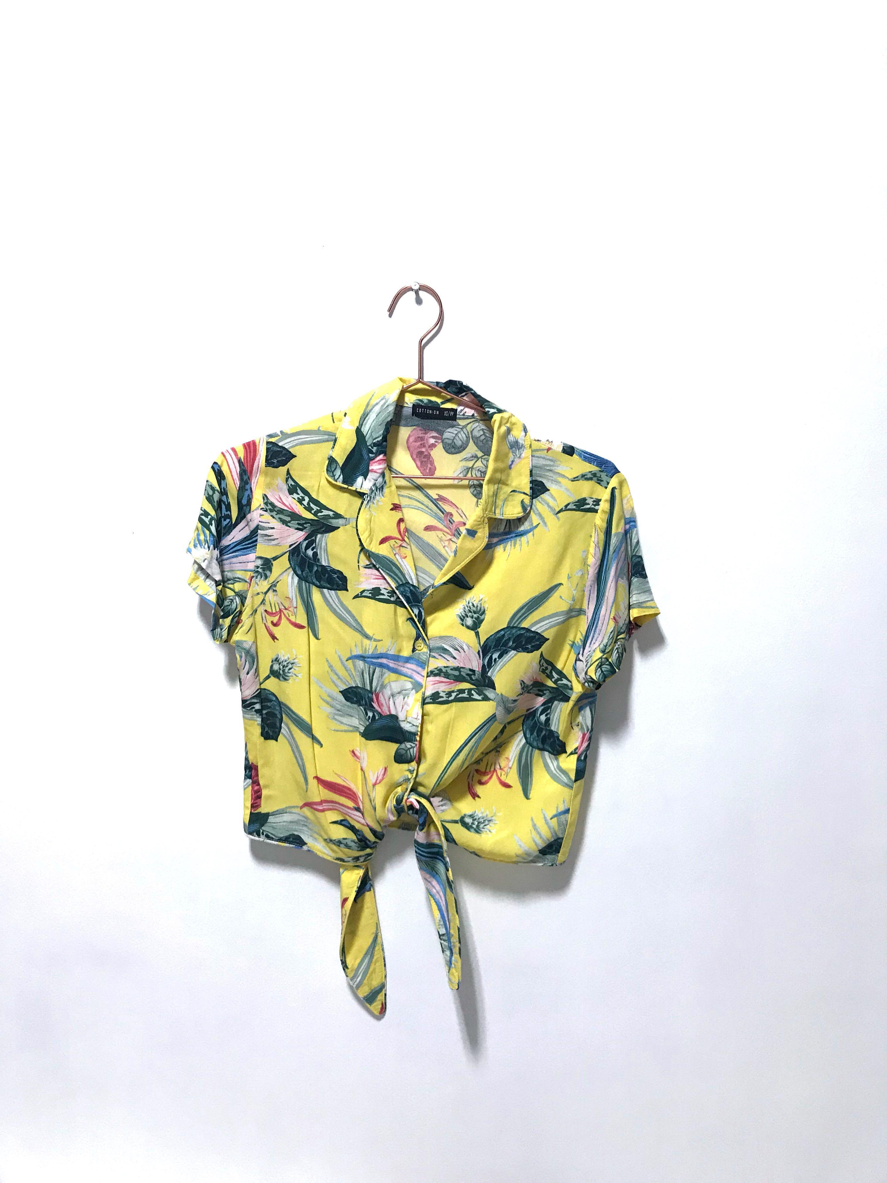 ab5ad2cc98b33 Sale) Tropical Hawaii floral yellow TOP