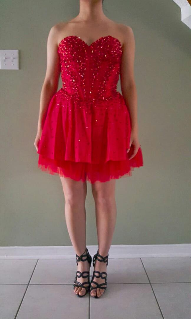 Short Red Corset Sequined and Beaded Party Dress
