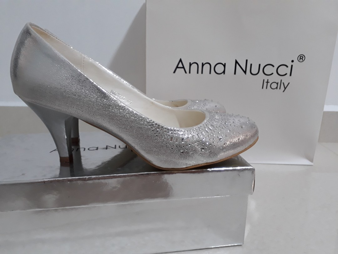 e4e67793d87 Silver Mid High Heels Size 41 by Anna Nucci