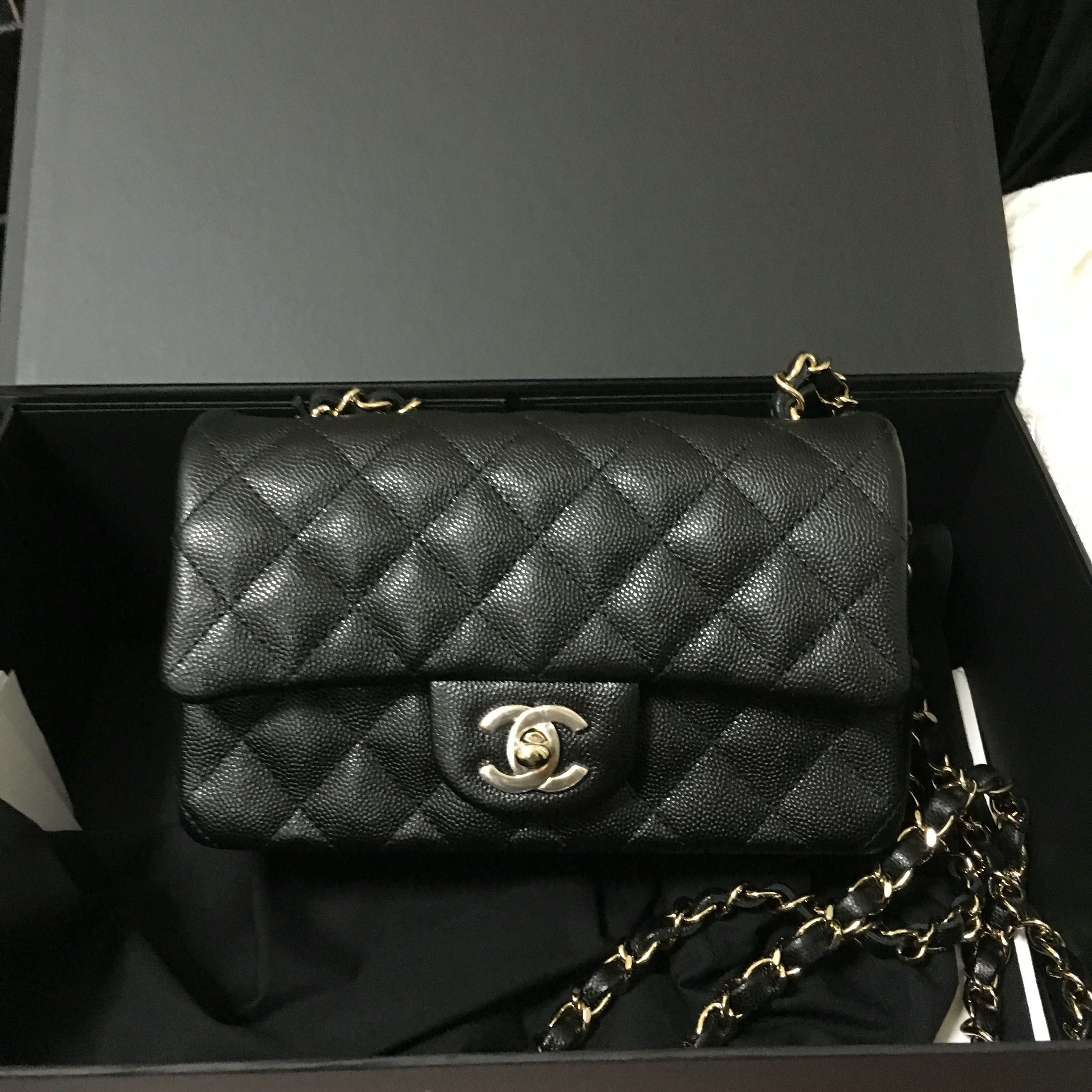 4afddf70f0d07e (SOLD) Chanel Mini Rectangular 18B Black Caviar Champagne GHW, Luxury, Bags  & Wallets, Handbags on Carousell