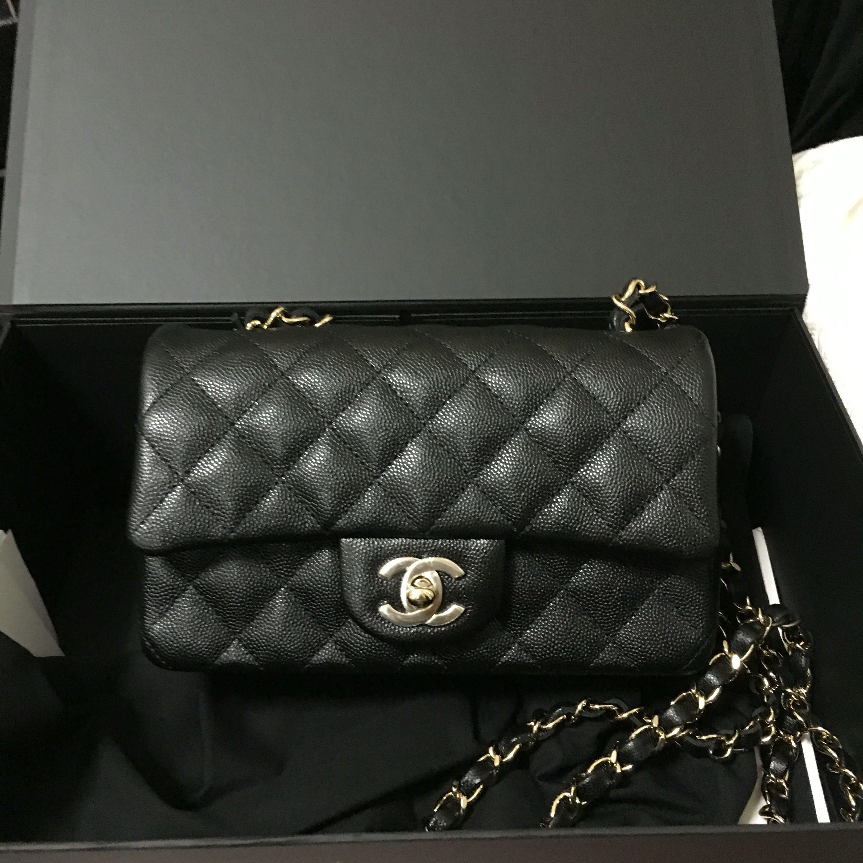 4ef81dbb946232 (SOLD) Chanel Mini Rectangular 18B Black Caviar Champagne GHW, Luxury, Bags  & Wallets, Handbags on Carousell