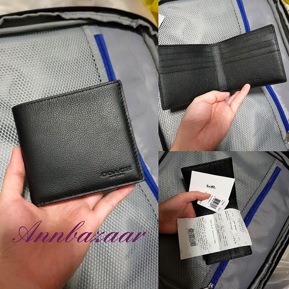 65dae0e290f61 ... switzerland special offer coach mens billfold wallet black 100  authentic 33dfb a9edf