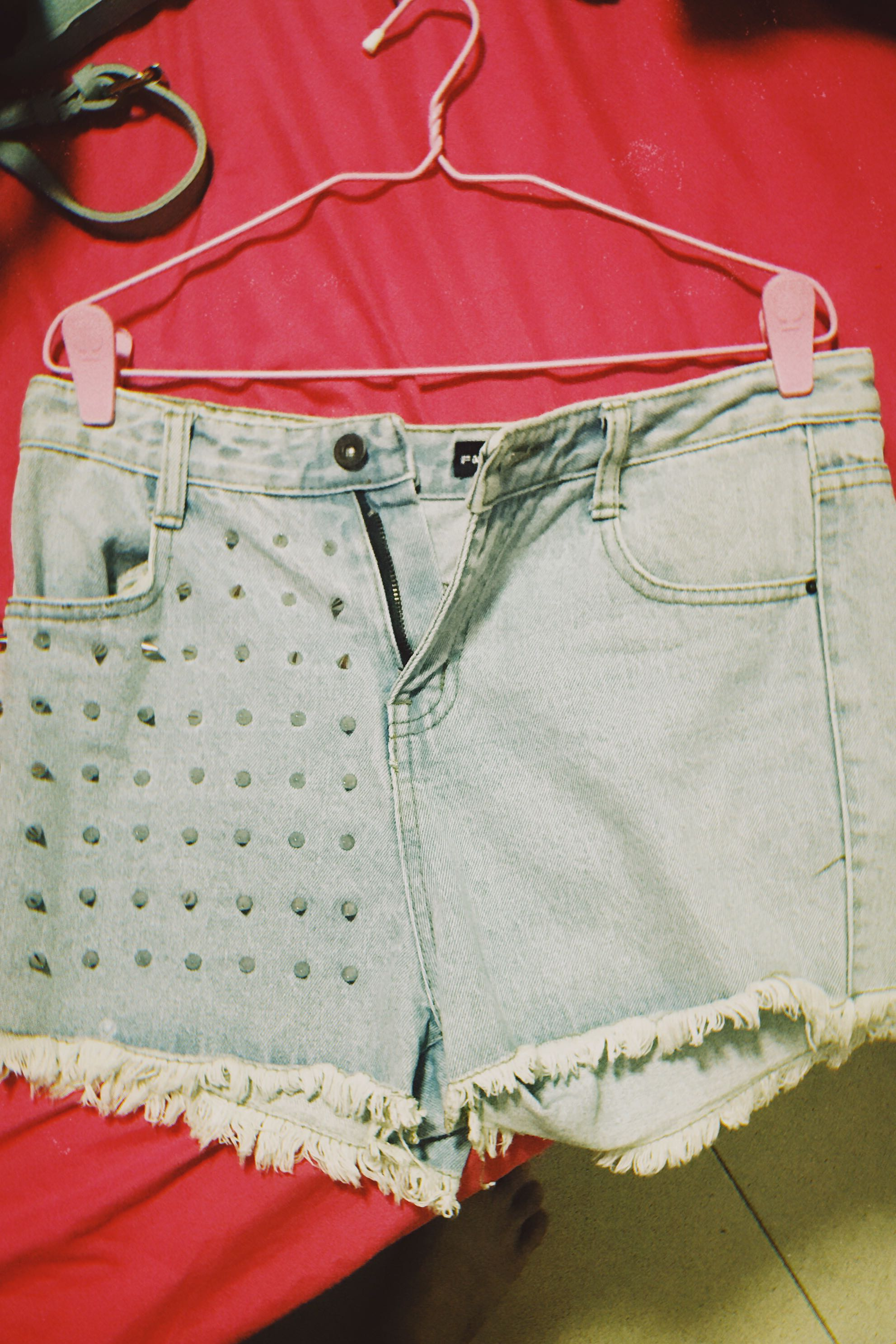 3127cafcd2 Spiked Denim High waisted shorts, Women's Fashion, Clothes, Pants ...