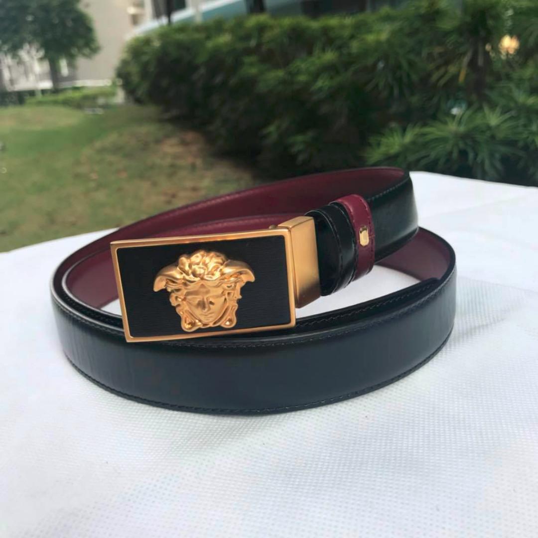 82f85a1e5bdaf9 Versace Men's Medusa Reversible Leather Belt Black/Burgundy, Men's ...