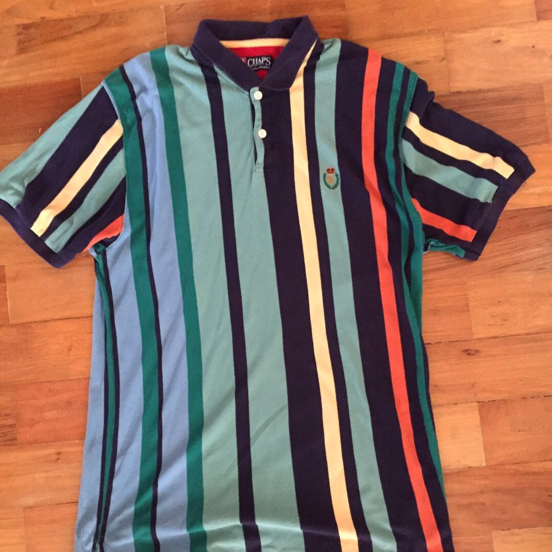 3310e226e9a inexpensive vintage chaps ralph lauren vertical stripe polo shirt mens  fashion clothes on carousell 41b09 ed77f