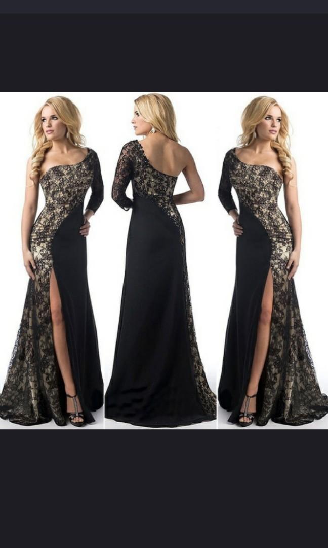 Women s elegant sexy one shoulder Maxi dresses split party cocktail ... df60df772