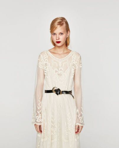 b92987669be Zara Cream Embroidered Lace Midi Dress