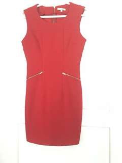 Valley girl red Australian dress small career fitted zipper back