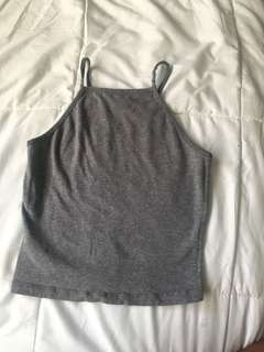 Grey garage halter top