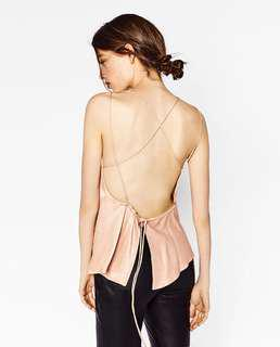 Zara blush pink top with open back