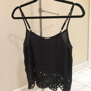 Brandy Melville John galt black tank top with cut outs