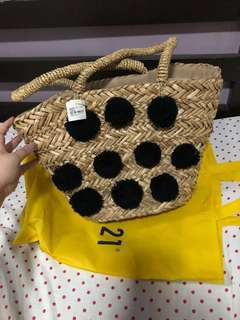 Forever21 straw bag with pompoms