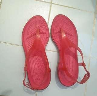 Authentic Crocs (Pink T-Strap)