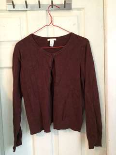 Burgundy button up jumper - H&M