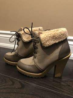 Faux fur lined heel boots