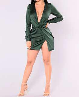 Brand new satin emerald green dress