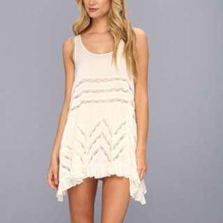 Free People Voile and Lace Trapeze slip dress Tea colour size small bohemian
