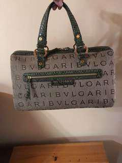 Authentic Bvlgari Bvlgari Lettere Mania Chantal Boston Bag