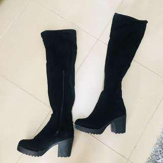 Chunky thigh high boots