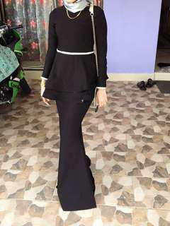 Peplum Kurung in black