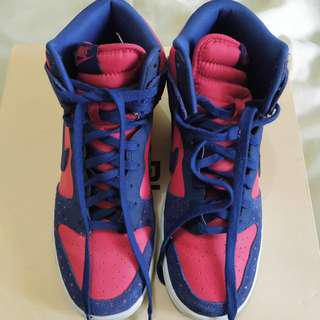 Nike Dunk High Skinny - 543242 600 Women Lached Leather & Suede Trainer Royal Blue Red