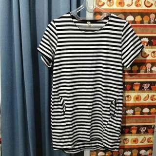 Baju cewe stripes putih hitam
