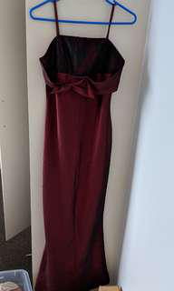Maroon fishtail long ball dress (size 8) comes with a scarf