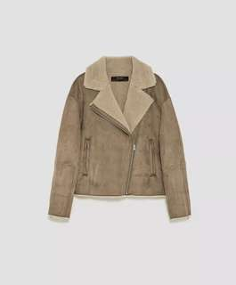 Zara Suede Effect Faux Shearling Jacket, Small 8-10