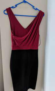Size 8 - formal dark pink/marron and black dress