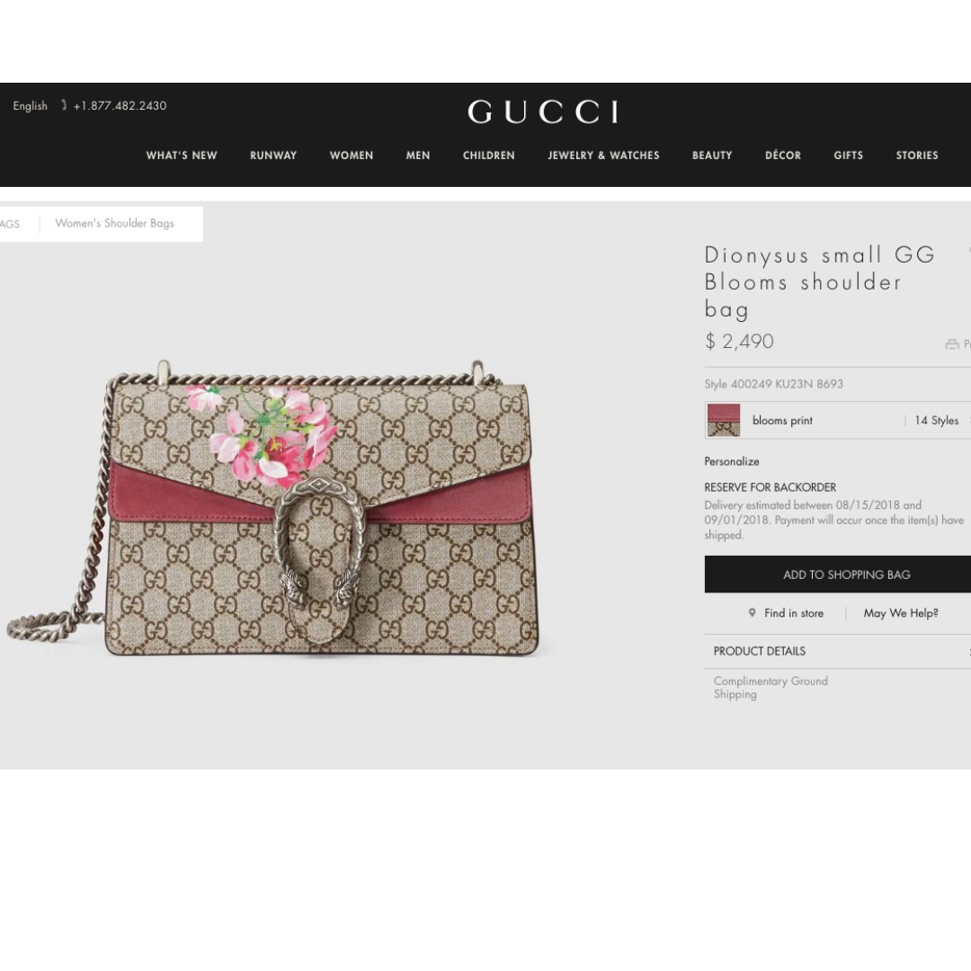 fe6a53346a27dc 100% Authentic Gucci Dionysus small GG Blooms shoulder bag (Still on ...