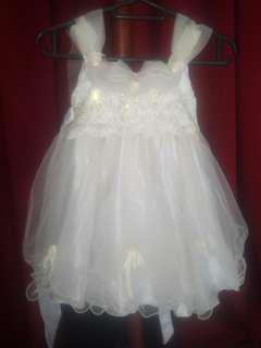 Dress pesta party princess broken white