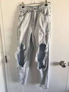 Glassons Bleach Wash Distressed Mom Jeans