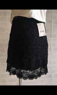 Urban outfitter  黑色蕾絲短裙  質感柔軟 彈性大  Xs S M