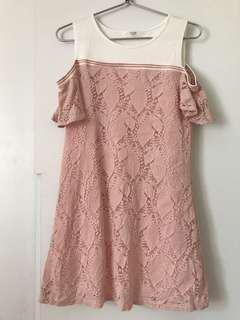 韓國品牌 Aura 粉紅lace op 直身裙 one piece dress