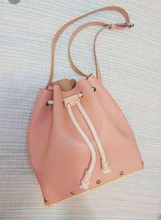 模良品Runway 手製真皮松木底粉紅色手袋 包 handmade pink leather bag handbag