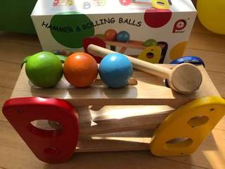 Wooden toy, hammer & rolling balls, better toy store