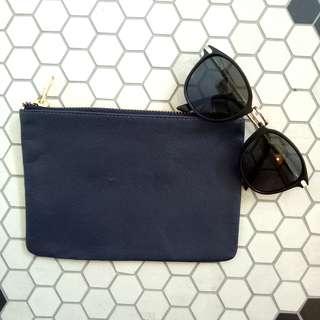 RRP $55 Aija navy leather purse