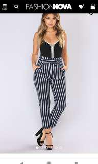 Fashion Nova high waist striped pants
