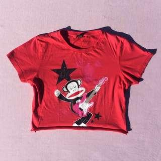Y2K red Paul Frank crop top