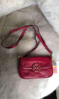 Tory Burch crossbody bag purse red leather