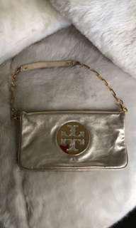 Tory Burch Gold leather purse clutch
