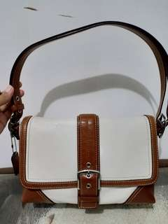 Coach white brown leather bag
