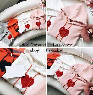 Pink Hooded with Red Heart