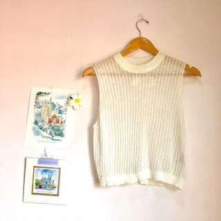 H&M See Through White Knit Top