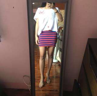 F21 Striped Bandage Skirt