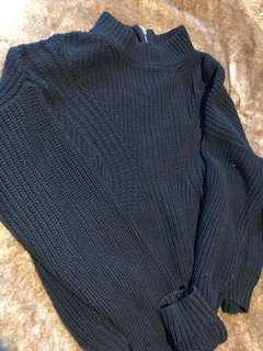 Navy Blue Glassons Cropped Sweater