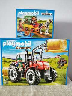 Playmobil 6867 Large Tractor & 6948 Picnic With Pony Wagon